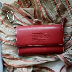 Vintage Coach Legacy Red Leather Wallet & Key Fob
